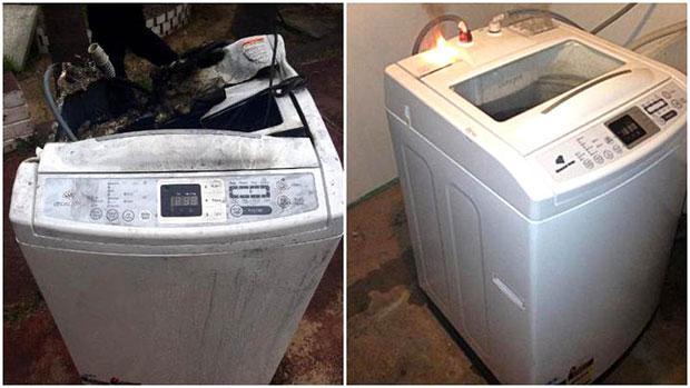 Samsung washing machine explodes after phone