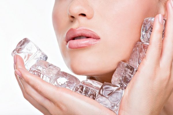 skin care with ice cubes