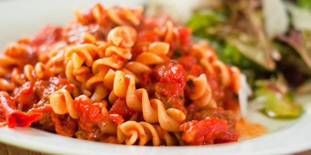 Red chili pasta with cheese