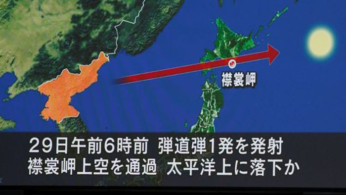 Again N.Korea launches missile over Japan
