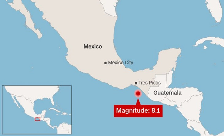 The magnitude earthquake in Mexico