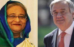 UN Chief phone call PM Sheikh Hasina