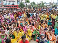 Garment workers protest at Mirpur-12