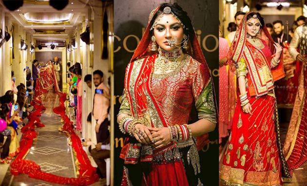 Joya ahsan wear world big Lehenga sarees ৪০০ মিটার দৈর্ঘ্যের লেহেঙ্গা